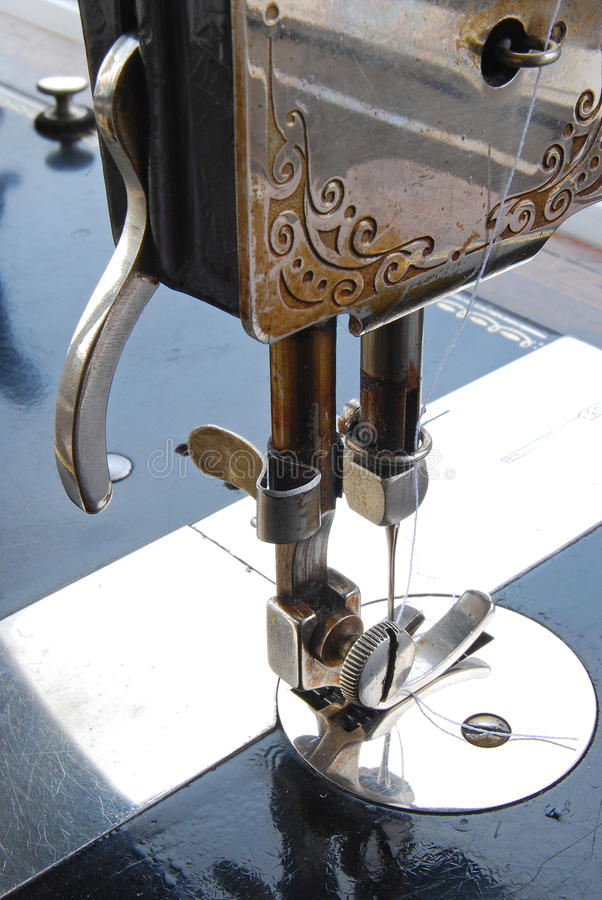 Old sewing machine details stock photos