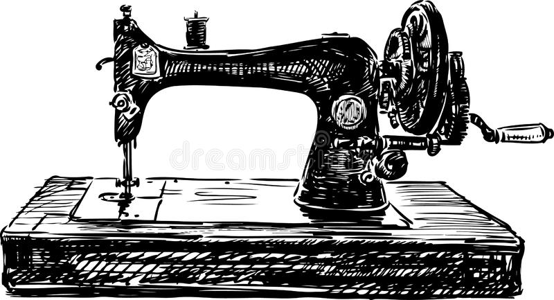 Old sewing machine. Vector image of a vintage sewing machine stock illustration