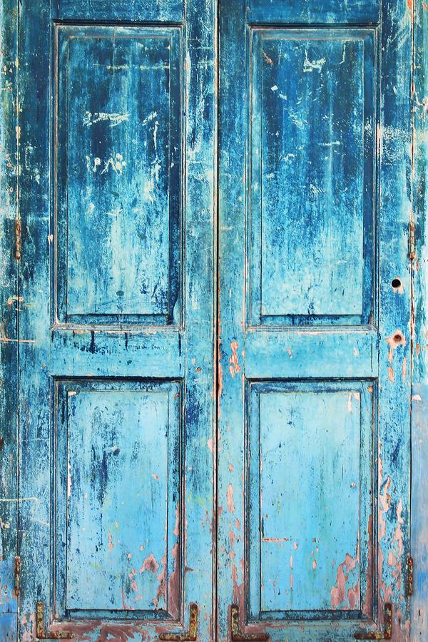 Old Rustic Wooden Doors Painted In Blue Stock Photo