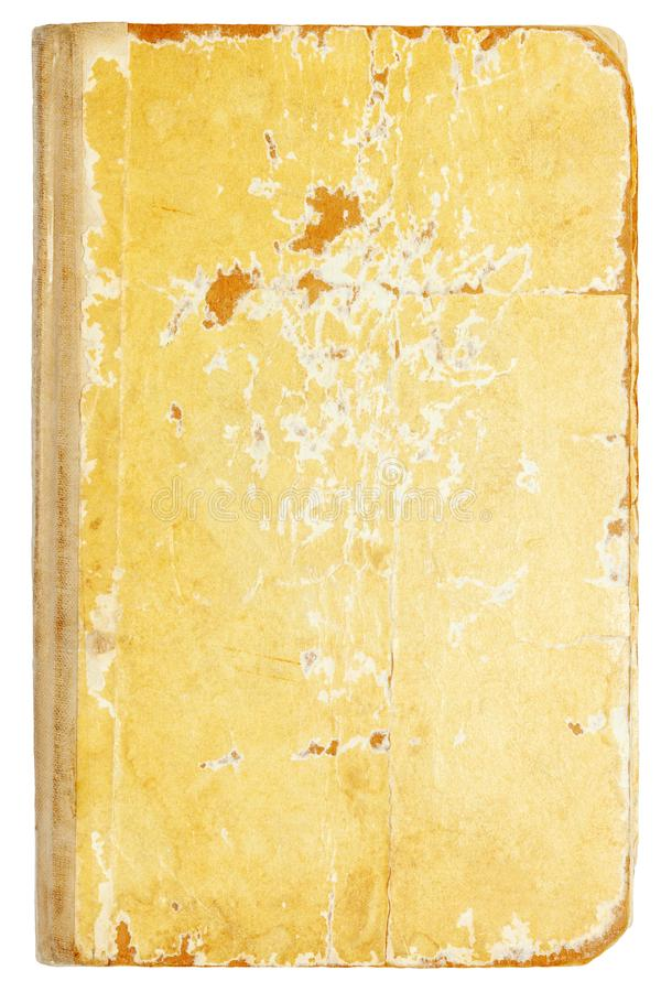 Old shabby book cover on white. Old shabby torn book textured cover on white stock photo