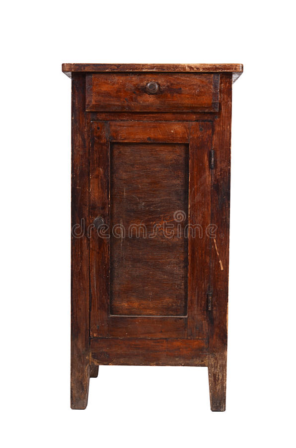 Old shabby cabinet isolated on white royalty free stock images