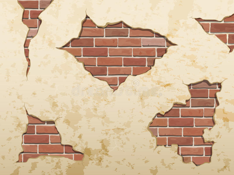 The old shabby concrete and brick cracks. vector illustration