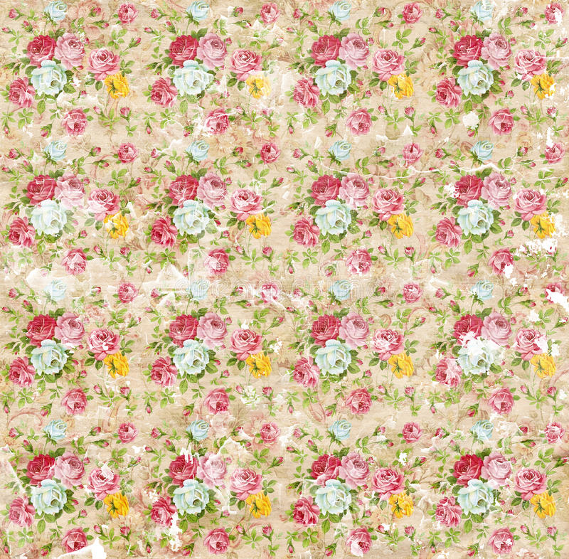 Old shabby paper floral wallpaper. Old roses floral pattern wallpaper royalty free stock photography