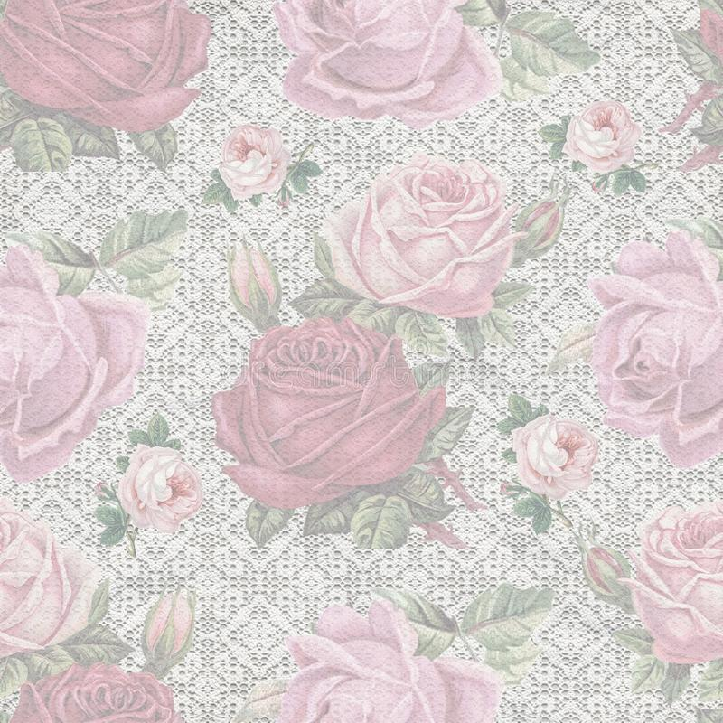 Old shabby rose lace pattern wallpaper. Template for decoration and design royalty free stock photography