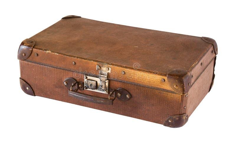Old shabby vintage suitcase isolated on white background. Retro style stock image