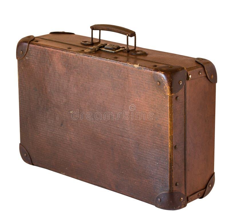 Old shabby vintage suitcase isolated on white background. Retro style stock photos