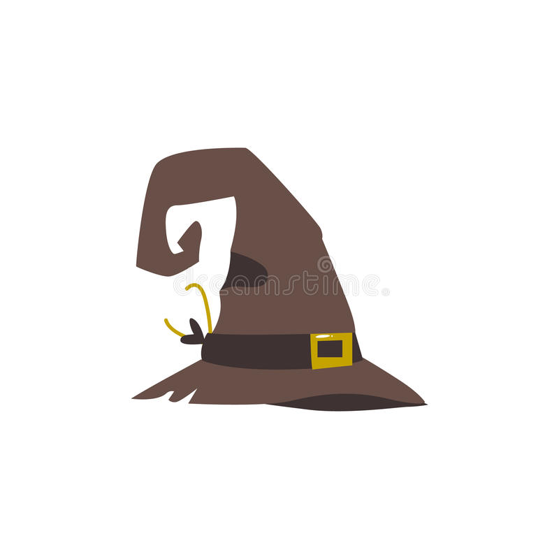 Old, shabby, worn out witch, wizrd pointed hat. Halloween decoration element, cartoon vector illustration isolated on white background. Cartoon old witch hat royalty free illustration