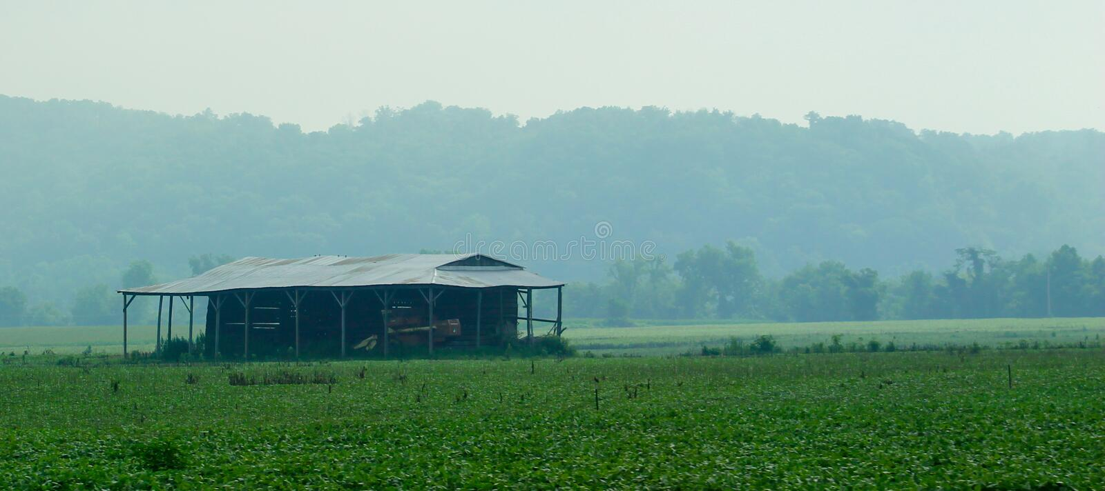 Old Shack. With a metal roof on farmland stock photo