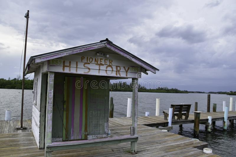 Old shack on a wooden pier. On a Florida waterway stock images