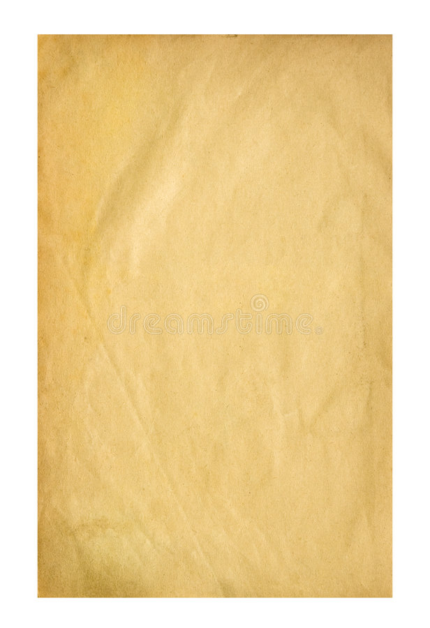 Old sheet of paper. Isolated on white stock photos