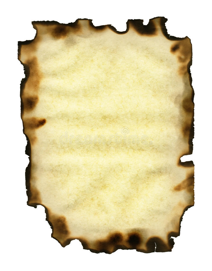 Old sheet of paper with burnt edges royalty free stock photos