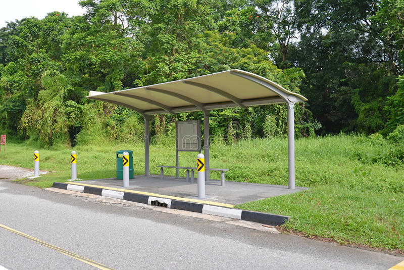 Old Sheltered Bus Stop. In Singapore Rural Area stock photos