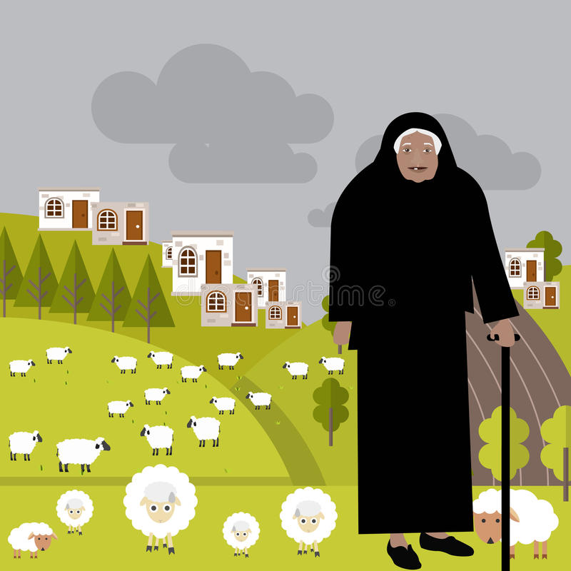 The old shepherd. From the valley out to pasture with the sheep. Small stone houses In the background, green grass and gray cloudy sky vector illustration