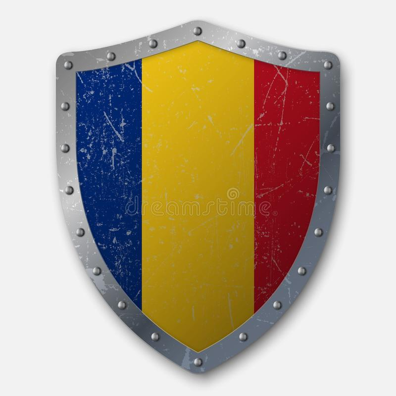 Old Shield with Flag stock illustration