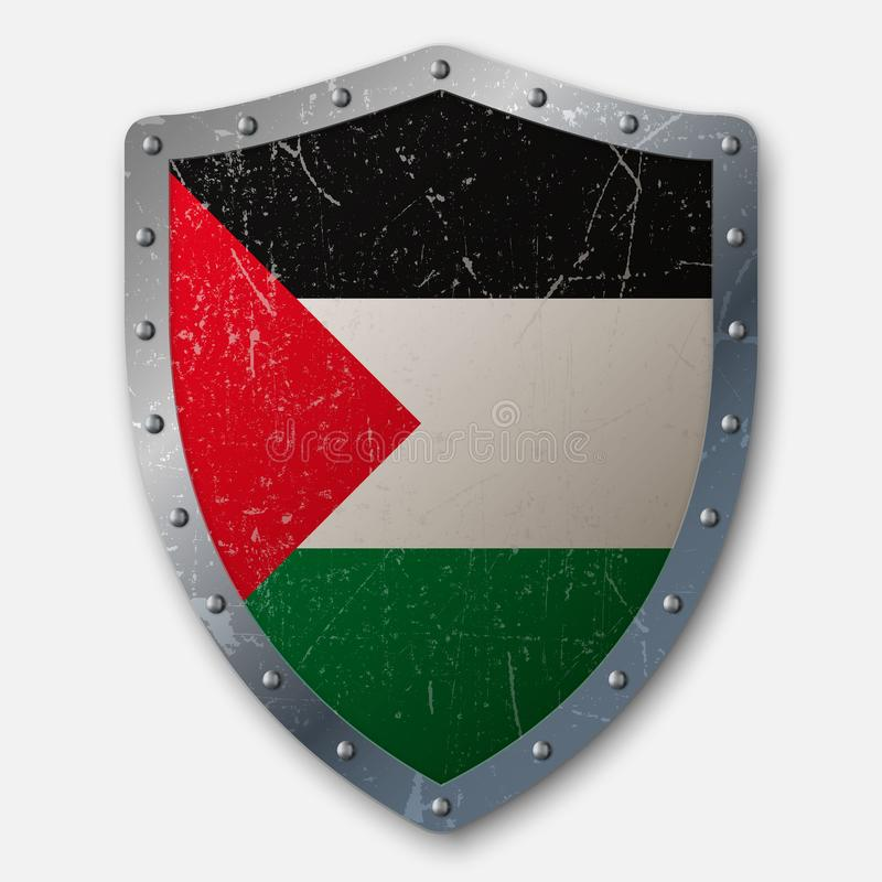 Old Shield with Flag royalty free illustration