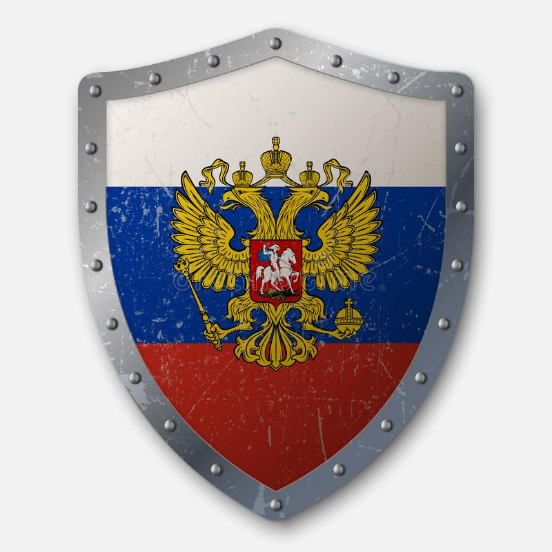 Old Shield with Flag vector illustration