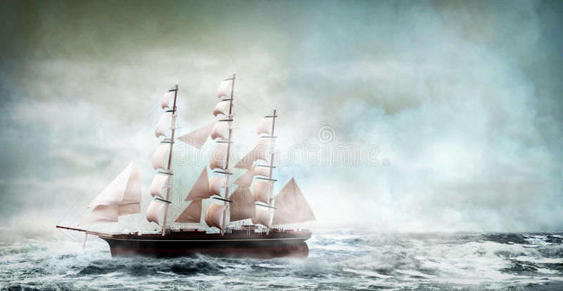 Old ship. On a wavy ocean royalty free illustration