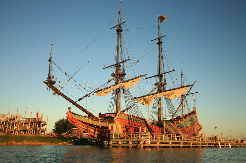 Old ship - Batavia. Batavia – historic galleon from Netherlands by sunset. Old ship royalty free stock photos