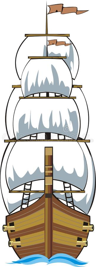 Download Old Ship Front Stock Vector Illustration Of Wooden