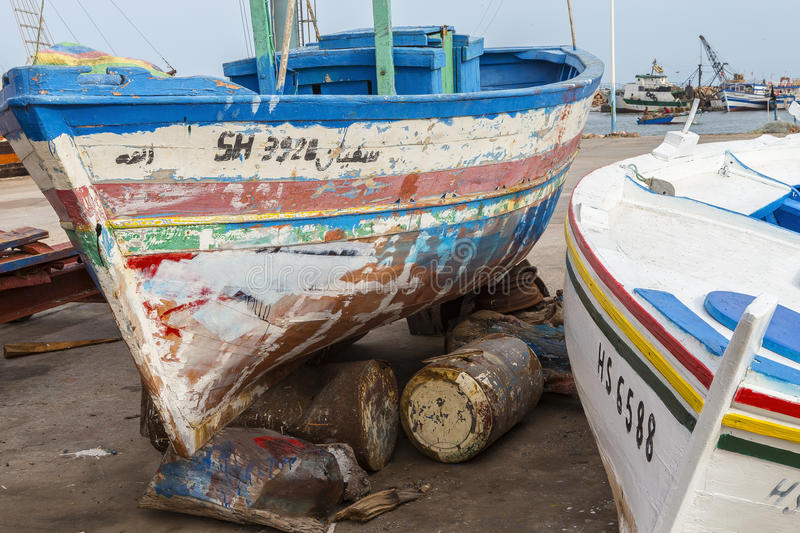 Old ship in Houmt Souk, Tunisia,r estoration of an old wooden boat stock photography