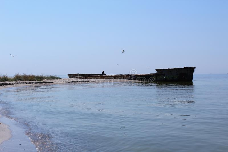 The old ship is on the Kinburn Spit. He will never swim, so he is abandoned. stock image