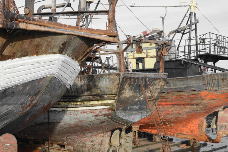 Old ship, port of Essaouira, Morocco stock photo