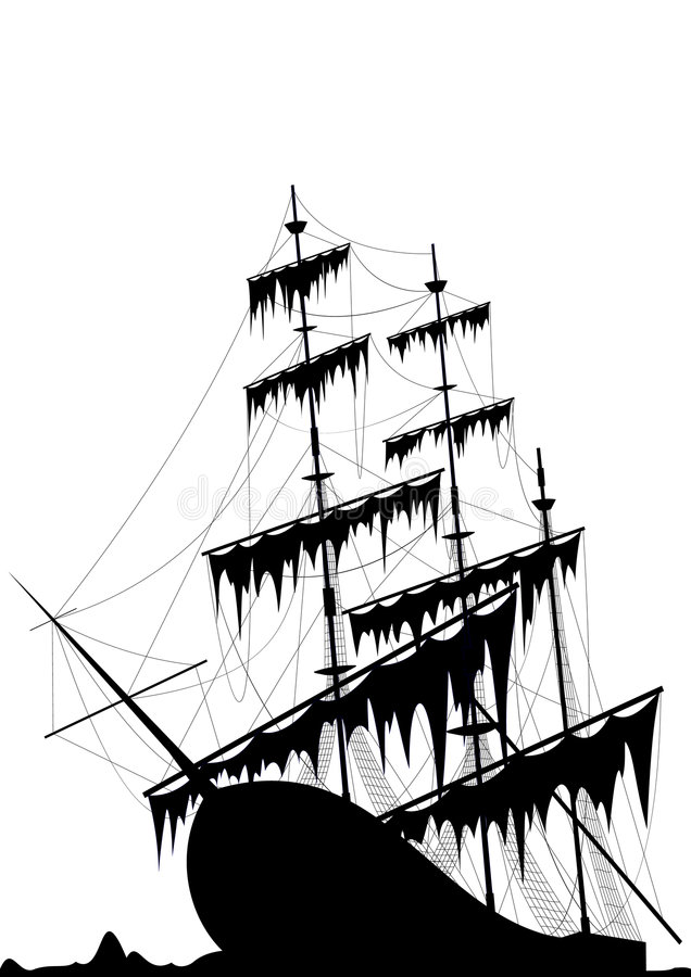 old ship at sea ground royalty free illustration