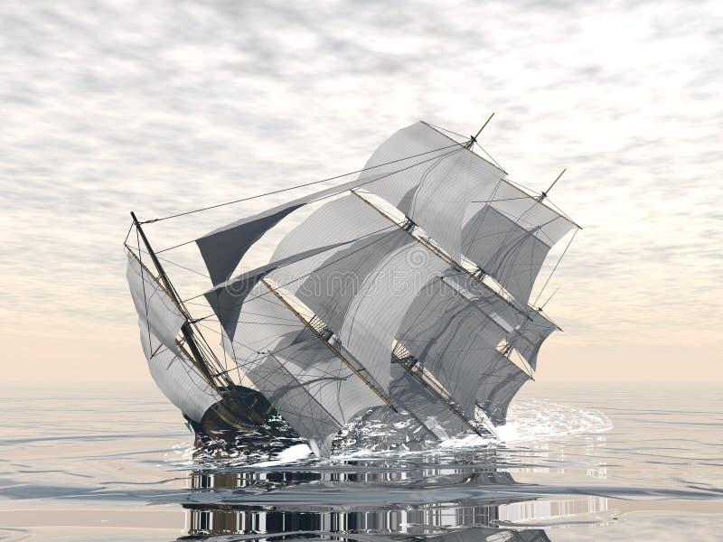 Old ship sinking - 3D render vector illustration