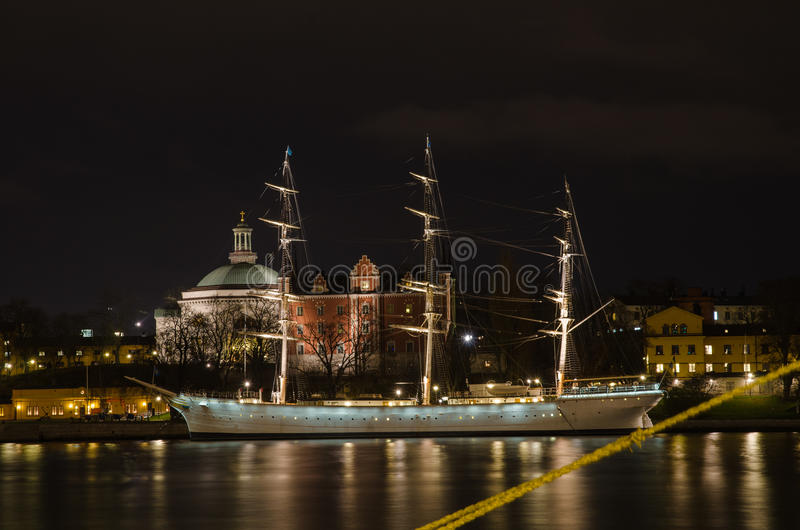 Old ship in Stockholm, Sweden. STOCKHOLM, SWEDEN - 30 NOVEMBER: Night view at the old ship Af Chapman in Stockholm, the capital of Sweden. Af Chapman is a famous stock images