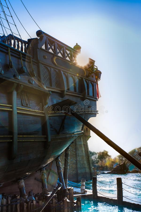 Old ship under repair. royalty free stock images