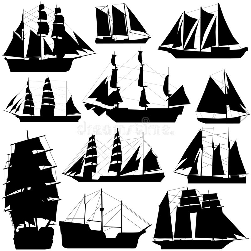 Old ship vector. Old ship and sailing vector
