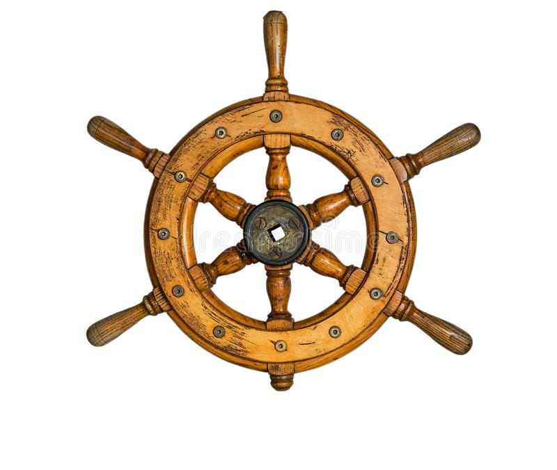 Old ship vintage, wooden steering wheel isolated on white background stock image