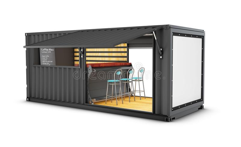 Old shipping container is converted into a chic coffee shop, 3d Illustration stock illustration