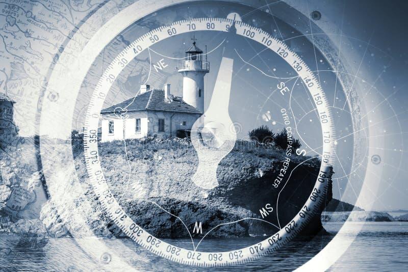 Old ships navigation monochrome multi exposure background stock photo