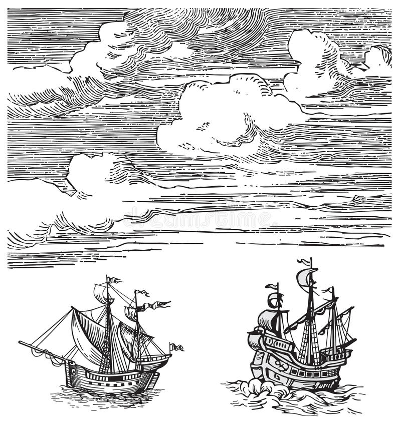 Old ships vector stock illustration