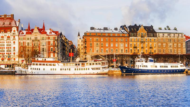 Old ships on the winter embankment of Stockholm. Sweden royalty free stock images