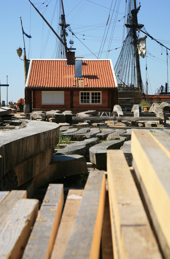 Old shipyard. Reconstruction of the - drying the woods royalty free stock images