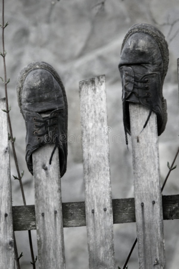Download Old shoes stock image. Image of fence, arranged, meadow - 4631357