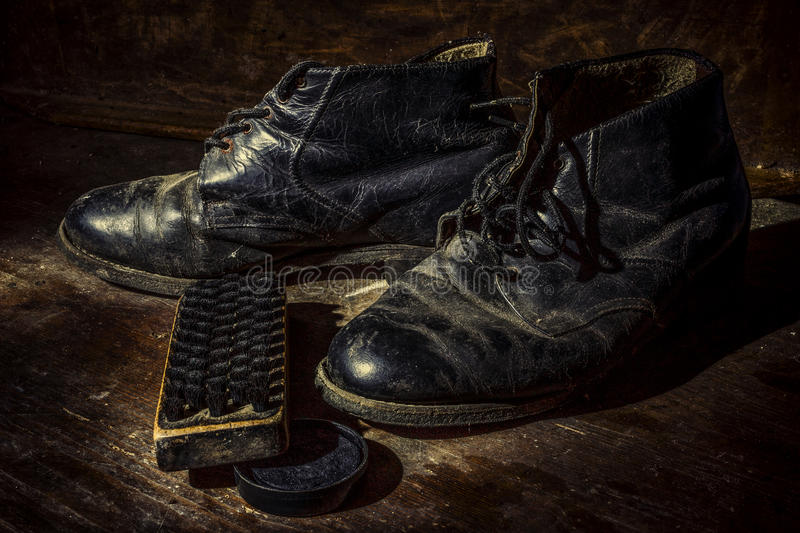 Old shoes and boots royalty free stock images