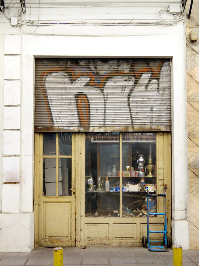 Old shop. Vitrine of an old shop royalty free stock photo