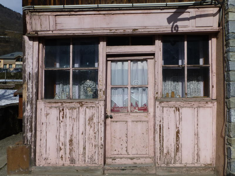 Old shop front in the French Alps royalty free stock photo