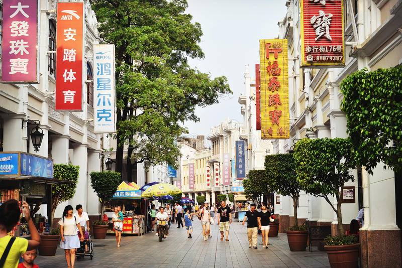 Old shopping street in China. Shopping street in Zhongshan city,Guangdong (Canton) province, China, Asia. Urban scenery in China. old commercial street view with royalty free stock image