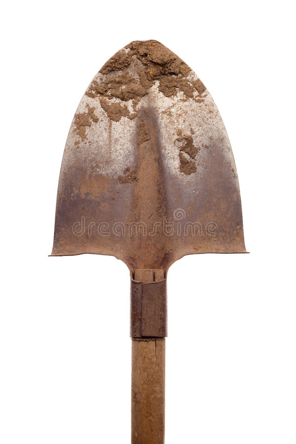 Free Old Shovel With Loam On White Background Royalty Free Stock Photography - 33463777