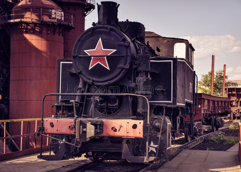 Old shunting locomotive 9PM-161. On Mining and metallurgical plant royalty free stock image