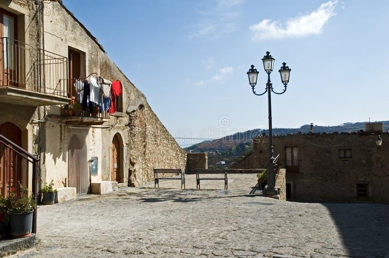 Old Sicilian village square stock photos