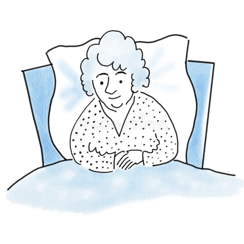 Old sick woman in bed, health concept, old age concept, watercolor painting illustration of handmade work, relaxation concept.  vector illustration