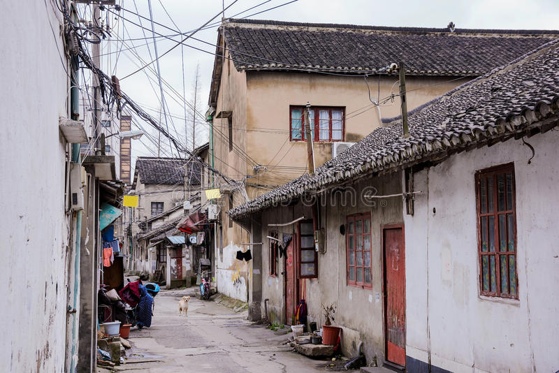 Old side street in an ancient town in Shangahi. Old street in an ancient town in Shanghai China royalty free stock images
