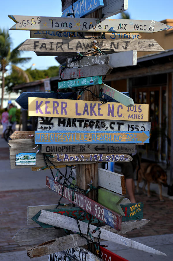 Old signpost in Key West royalty free stock images
