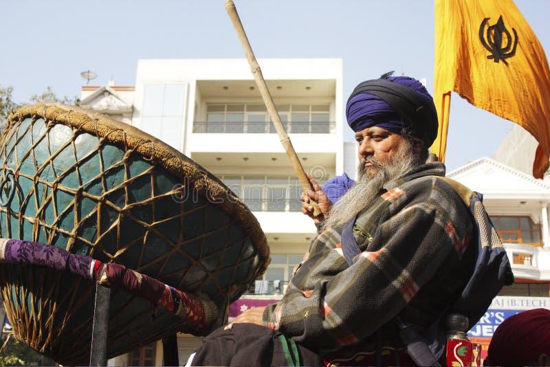 Download An Old Sikh Gentleman Beating A Huge Drum Nagara Editorial Stock Image - Image: 25558544