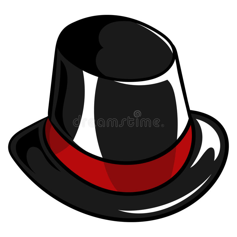 Old Silk Snowman Black Hat. Illustration of a old Christmas silk snowman black hat with a red stripe vector illustration